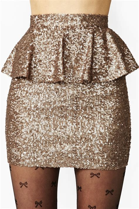 Rok Peplum Mini Polospeplum Mini Skirt gal peplum sequin skirt in metallic lyst