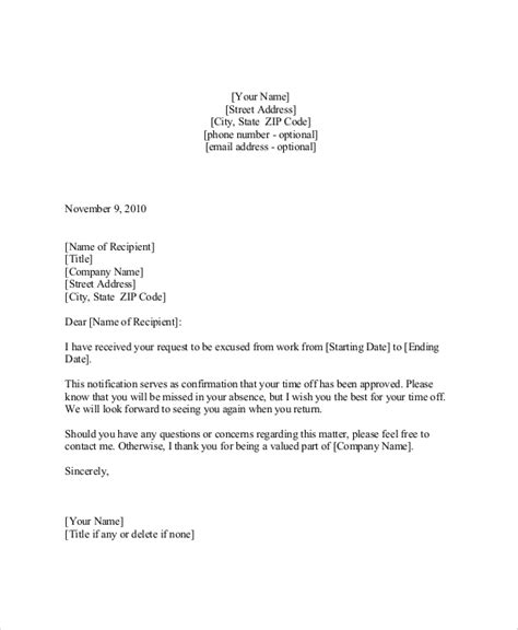 College Vacation Letter Sle Vacation Request Letter 5 Documents In Pdf Word