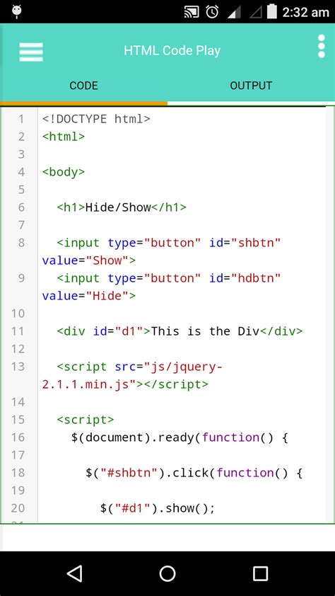 html viewer for android html editor for android app html code play