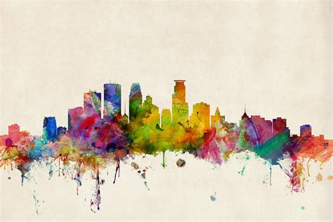 minneapolis minnesota skyline digital art by michael tompsett
