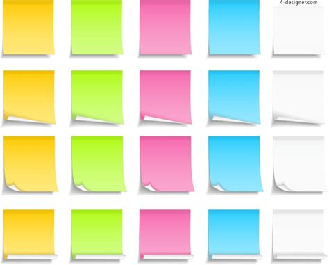 design notes 4 designer color note design vector material