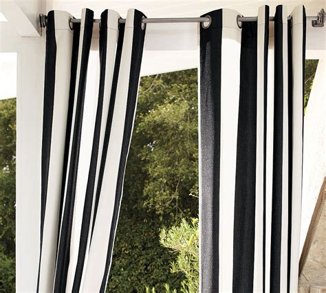 Black And White Stripped Curtains Striped Outdoor Curtains And Drapes On Virginia