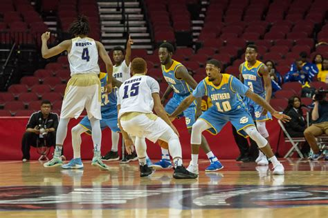 southern jaguars basketball swac mbb tournament alcorn state braves v southern
