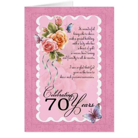 Words For A 70th Birthday Card 70th Birthday Greeting Card Roses And Butterflie Zazzle