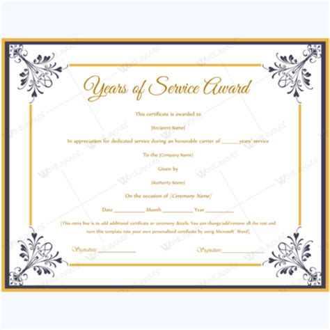 years of service award template years of service award certificate templates word layouts