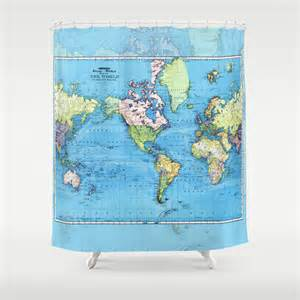 world map shower curtain mercator historical map colorful