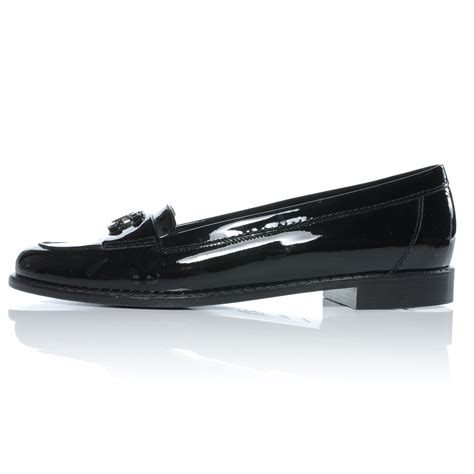 chanel black leather loafers chanel patent leather loafers 38 5 black 41215
