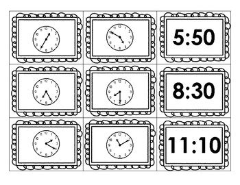 printable clock matching game telling time concentration a matching game by allyson