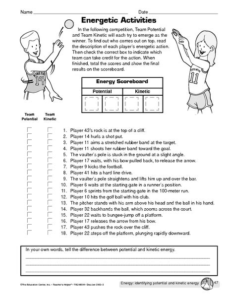 worksheet on kinetic and potential energy potential vs kinetic energy hs science kinetic energy physical science and