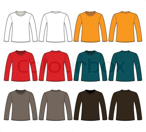 long sleeved t shirts template stock vector colourbox