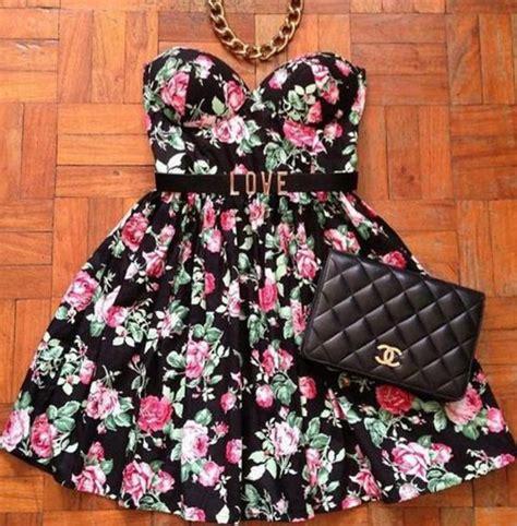 Flower Flare Drezz dress floral strapless floral dress flare dress