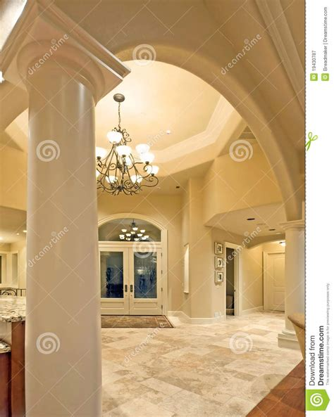 foyer door interior architecture luxury foyer with ornate stained glass door archway and foyer in luxury home stock image image 19430787