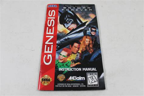sega genesis manuals manual batman forever sega genesis
