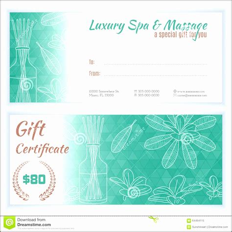 5 gift card template 5 spa gift certificate template sletemplatess