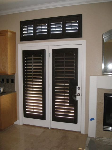 Beautiful Black Walnut Stained Wood Shutters Custom Fit Blinds For Interior Doors