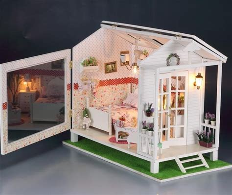 miniature house minature doll houses diy led light wooden dollhouse miniatures beach house seaview