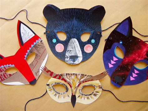 How To Make Animal Masks With Paper - paper animal mask set woodland forest and wedding