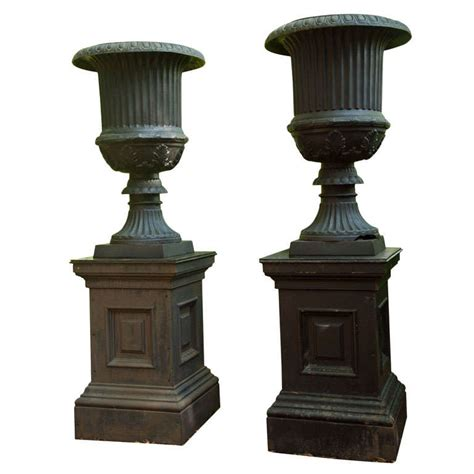 Cast Iron Planters And Urns by Monumental Pair Of Cast Iron Garden Urns On Pedestals At