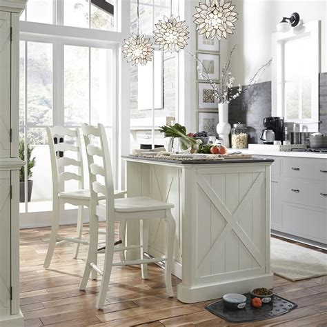 White Kitchen Islands With Seating Home Styles Seaside Lodge Rubbed White Kitchen Island And 2 Stools With Quartz Top
