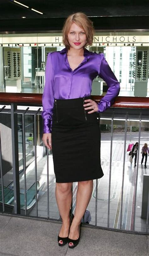 black pencil skirt purple satin blouse and black high