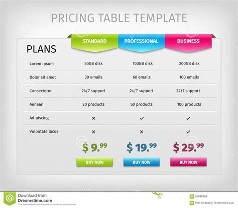 pricing table template colorful web pricing table template for business stock