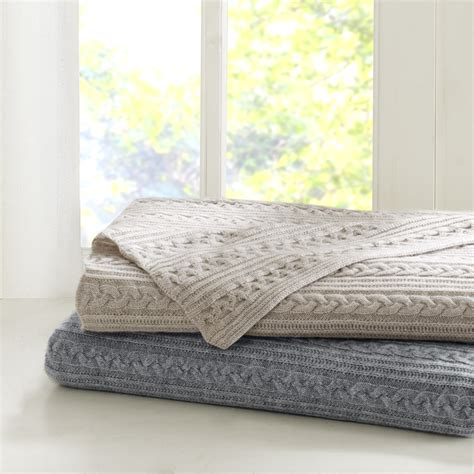cable knit coverlet madison park signature cashmere blend cable knit throw ebay