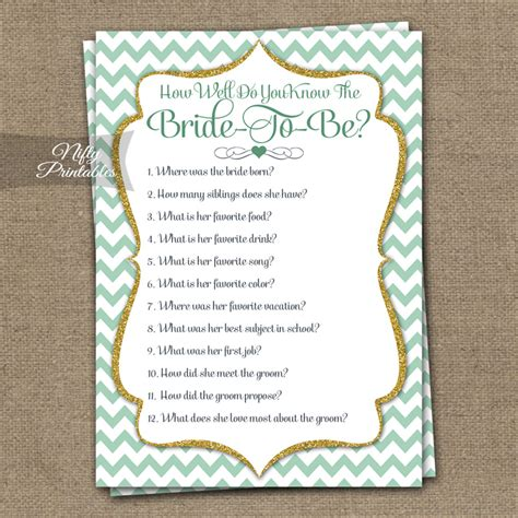 Bridal Shower Trivia by Printable How Well Do You The Shower