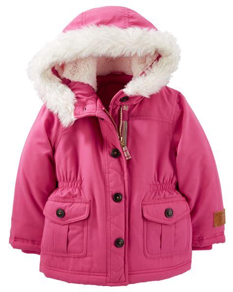 Baby Coat baby faux fur trim parka carters