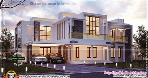 2400 sq feet modern contemporary villa kerala home design and floor plans contemporary night view villa kerala home design and