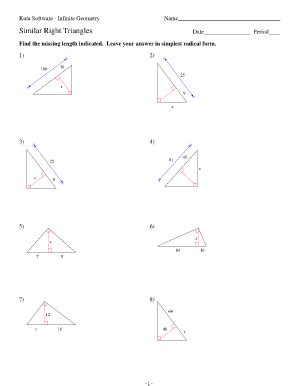 Similar Right Triangles Worksheet Answers by Kuta Software Infinite Geometry Angles In A Triangle