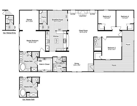 3 Bedroom 3 Bath Floor Plans by View The Evolution Triplewide Home Floor Plan For A 3116