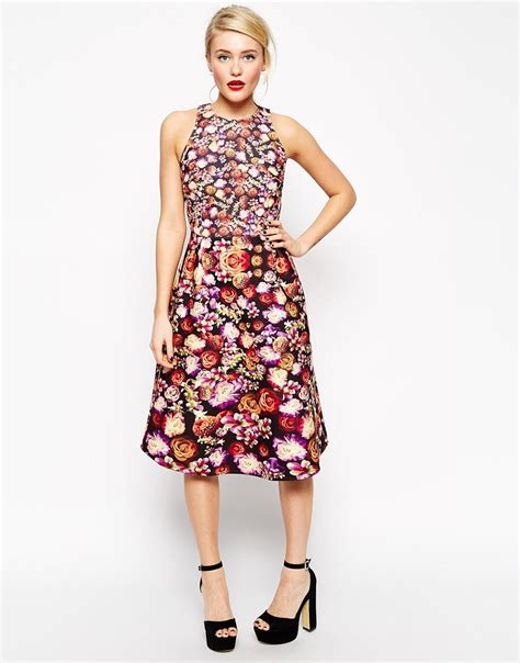 Dress Midi Flower lyst asos midi skater dress in bonded floral multi