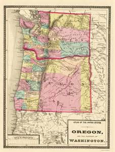 state maps oregon and washington or wa by