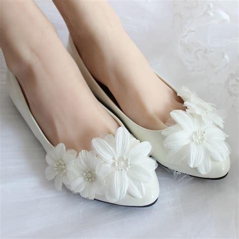 Handmade Wedding Shoes - handmade wedding shoes white flat bridal shoes
