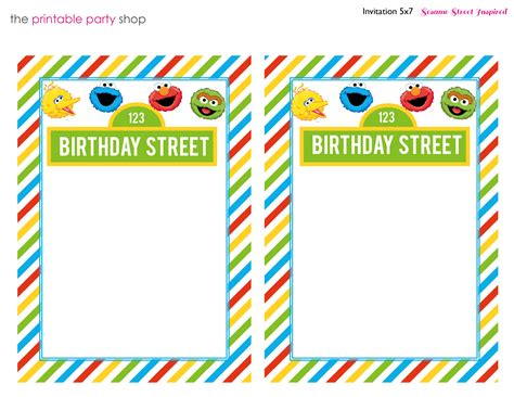 invitation stripes blank characters sesamestreet kid s