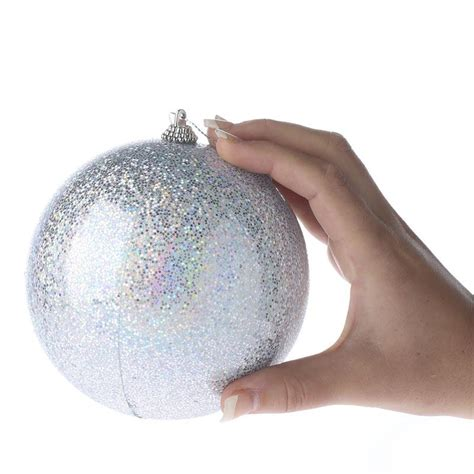 large ornaments large iridescent silver ornament