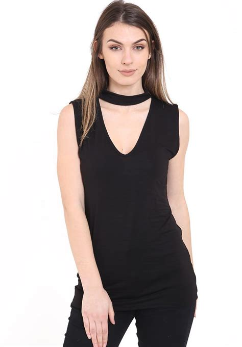 Top Kirana Blouse Out Cut new womens cut out plunge v neck collar choker high neck blouse shirt top ebay
