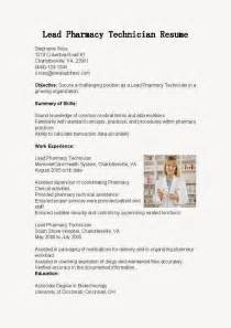 Pharmacy Technician Resume Exles by Resume Sles Lead Pharmacy Technician Resume Sle