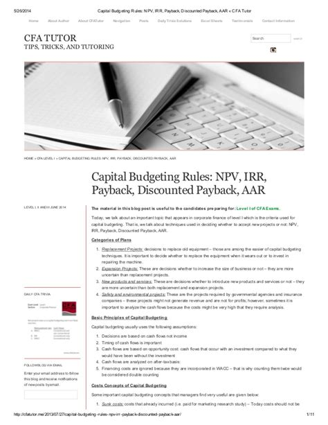 Capital Budgeting Ppt Mba Notes by Capital Budgeting Npv Irr Payback Discounted