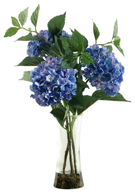 d w silks blue hydrangeas in glass vase traditional