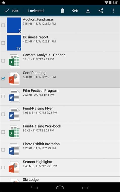 onedrive android onedrive formerly skydrive screenshot
