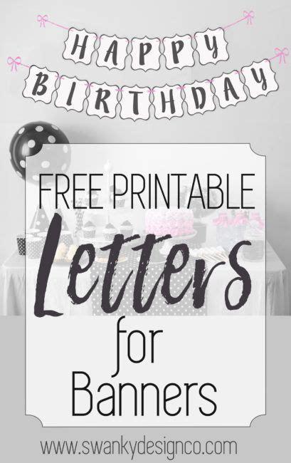 printable black  white banner letters