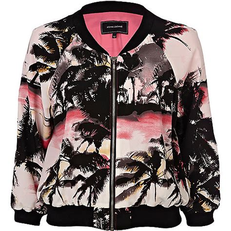 Palm Bomber Jacket pink palm tree print bomber jacket coats jackets sale