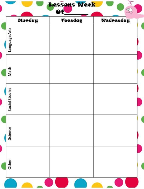monthly lesson plan template printable