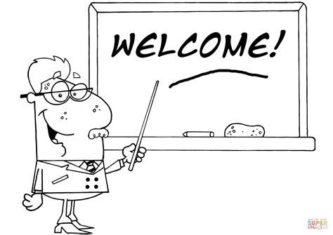welcome coloring pages printable school professor displayed on chalk board text welcome