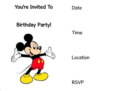 free mickey mouse invitation template 50 free birthday invitation templates you will