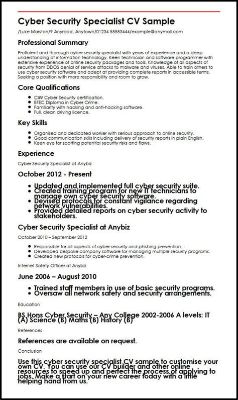 cyber security engineer resume sle cyber security specialist cv sle myperfectcv