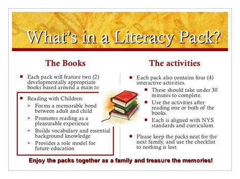 Parent Letter For Literacy Bag Literacy Home Pack Family Presentation