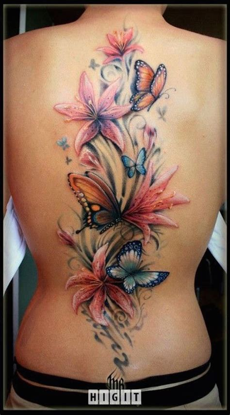 butterfly tattoo up back butterflies and flowers tattoo on back