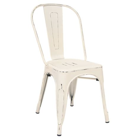 Distressed Bistro Chair Bistro Style Metal Chair In Distressed White Finish